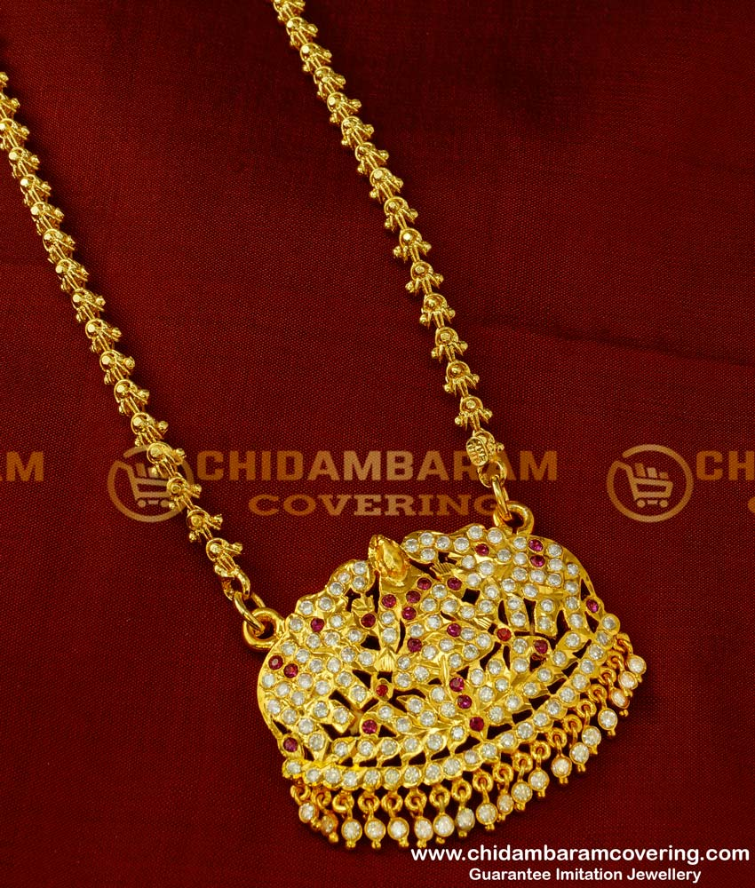 DLR018 - Five Metal Copper Gold Colour Stone Gajalakshmi Pendant with Chain Design Online
