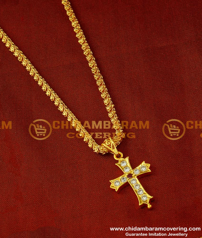 DLR019 - Impon Christian Cross Pendant Design with Jasmine Chain Traditional Impon Jewellery Online