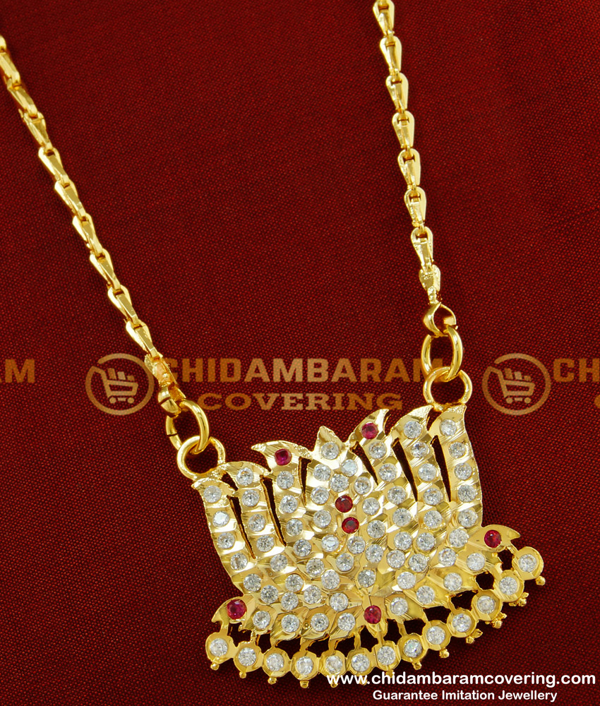 DLR027 - Beautiful White and Ruby Stone Lotus Design Impon Dollar Chain Online