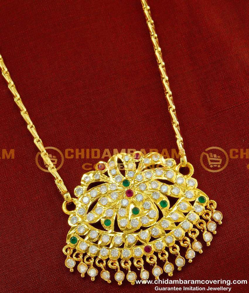 DLR028 - Panchaloha Flower Design Multi Stone Pendant with Chain Latest Impon Dollar Collection
