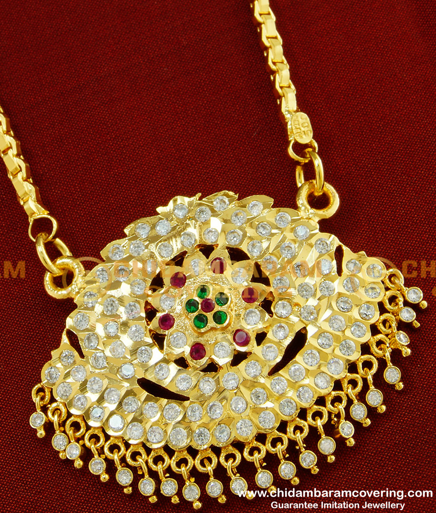 DLR029 - Impon Latest Model Gold Plated Flower Design Big Dollar with Chain for Women