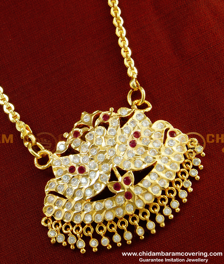 DLR031 - Traditional Panchaloha Stone Drops Double Swan Big Pendant with Chain Indian Jewellery