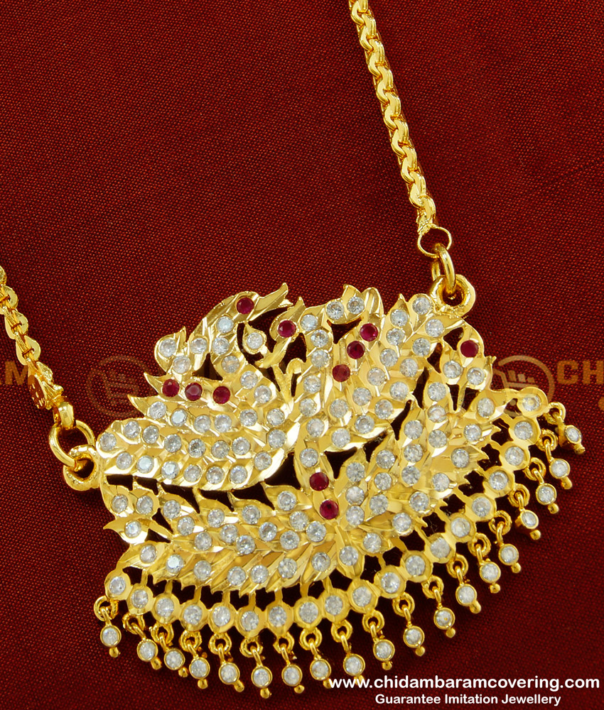 DLR032 - Traditional Impon Gold Design Ad Stone Big Swan Dollar with Long Chain Gold Plated Jewellery