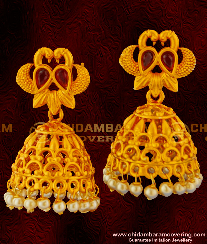 ERG057 - Red Stone Peacock Design Matte Finish South Indian Jewellery Jhumkas for Wedding