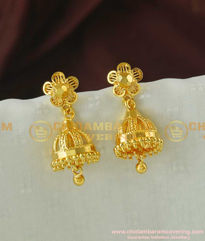 ERG061 - Gold Plated Jhumkas South Indian Style Fashion Jewellery Buy Online