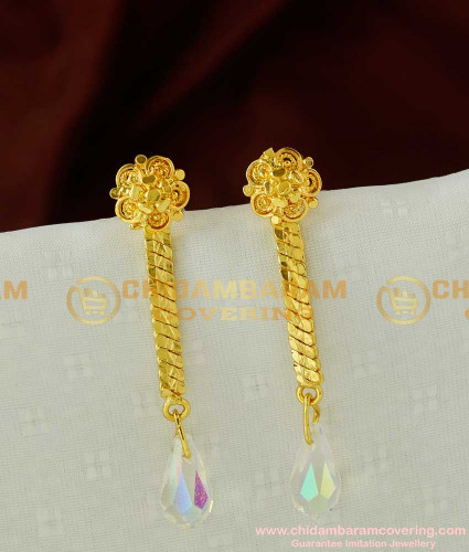 ERG073 –Titanic White Diamond Crystal Hanging Earring Design Gold Plated Jewellery Online
