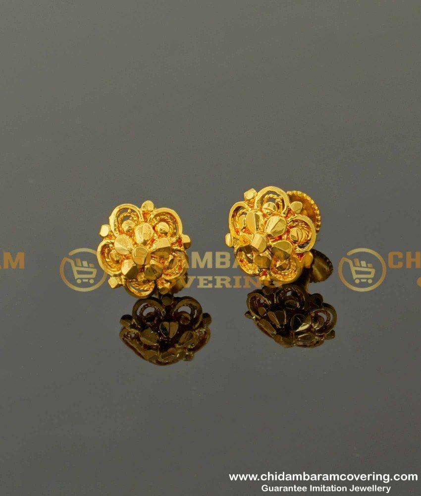 ERG090 – Traditional Five Petal Daily Wear Stud Designs Imitation Earrings