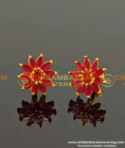 ERG107 – Party Wear Floral Design Ruby Stone Studs One Gram Gold Jewellery Online