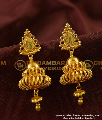 ERG122 - Bridal Wear Traditional Gold Plated Jhumkas Earrings for Women