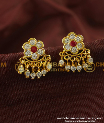 ERG126 - Impon Flower Designs with Hanging Stone Drops Guarantee Earrings Online