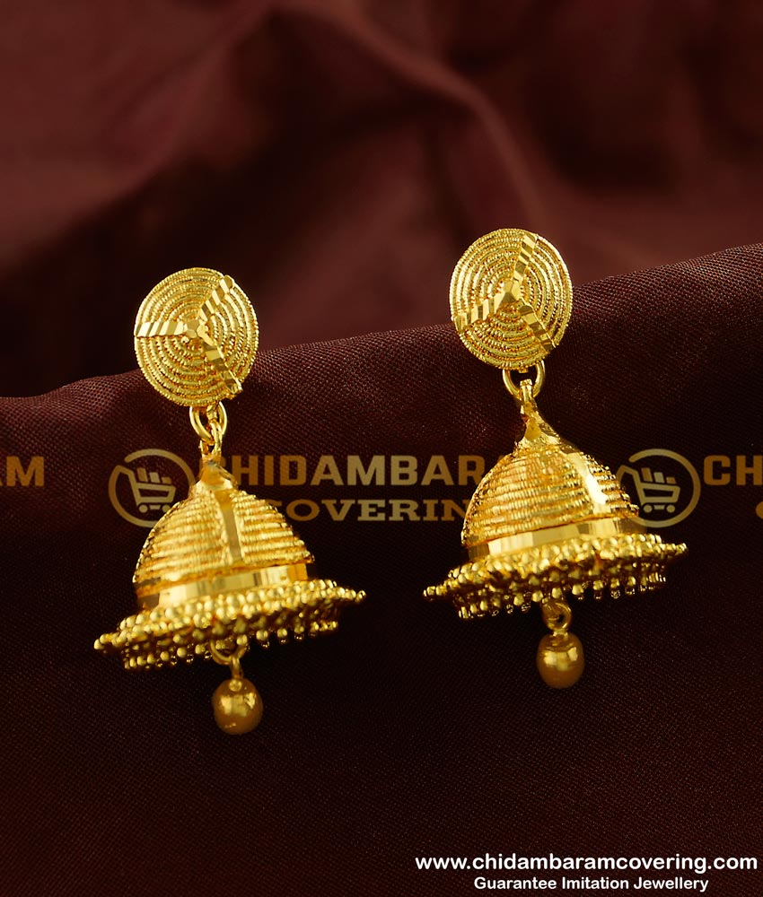 ERG128 - Traditional South Indian Umbrella Jhumkas In Gold Plated Buy Online