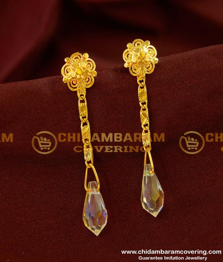 ERG137 - Latest Light Weight Crystal Hanging Earrings Design Online Shopping