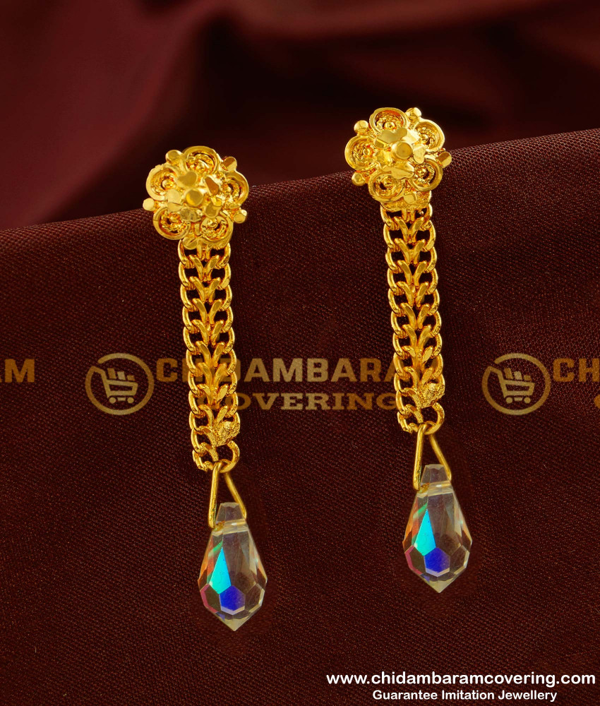 ERG145 - One Gram Gold Plated Long Chain Hanging Earrings Online Shopping in India