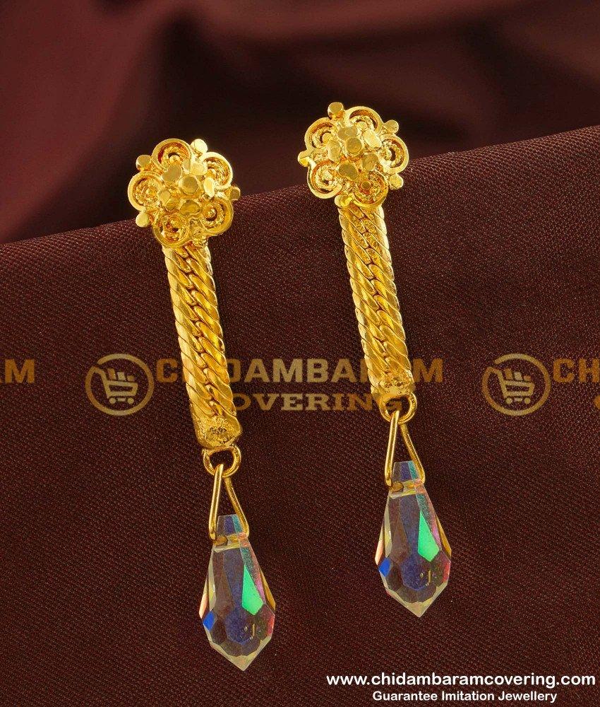 ERG146 - Designer Long Chain Hanging Crystal Earrings Guarantee Jewellery Buy Online