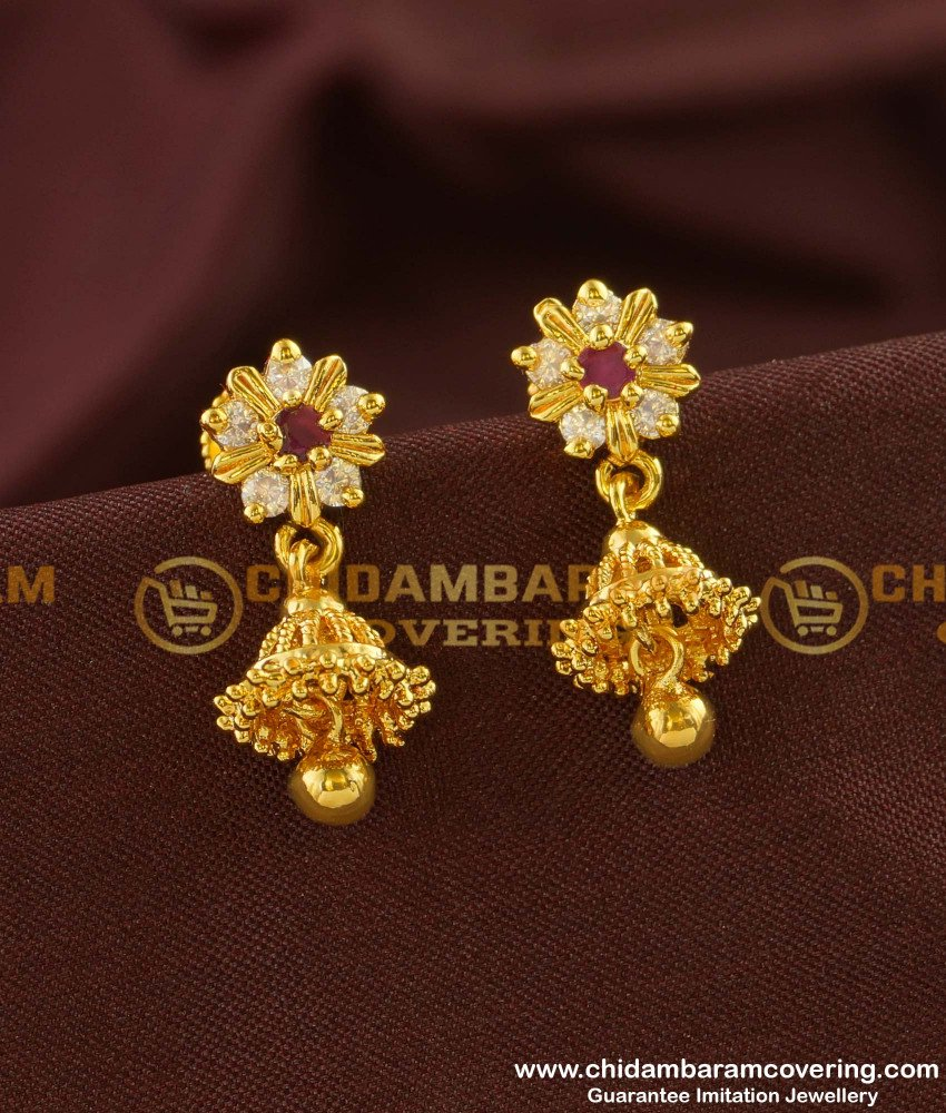 ERG147 - Traditional South Indian Stone Jhumkas Design for Girls