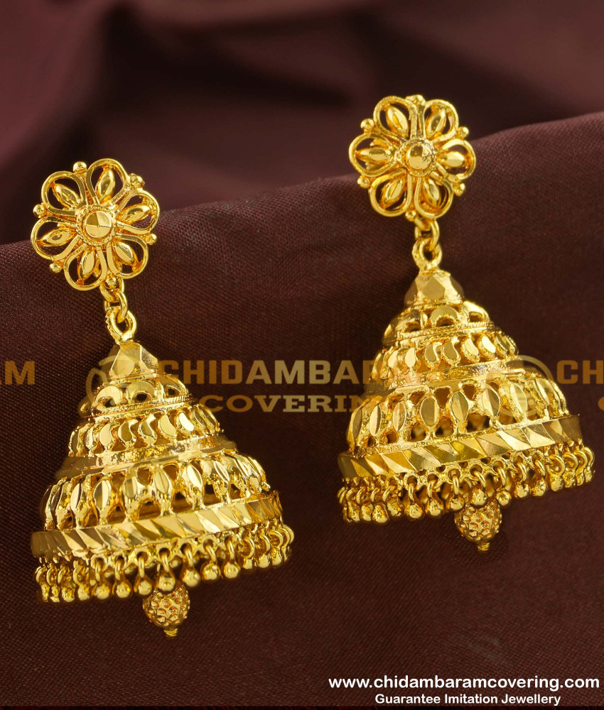 ERG154 - Beautiful Design of Gold Plated Jhumkas Design with Low Price Online