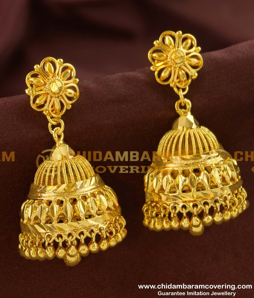 ERG155 - New Collection Big Size Jhumkas Earrings Designs Indian Jewelry Online
