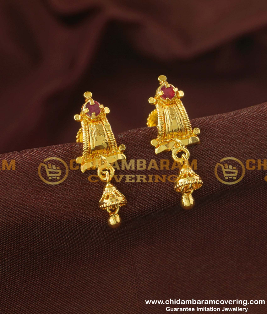 ERG170 - Trendy Ruby Stone Earrings Guarantee Jewellery Buy Online