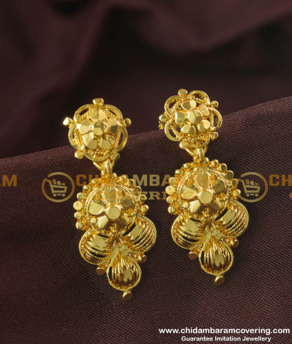 ERG177 - 1 Gram Gold Plated Flower Design Dangler Earring Design Online