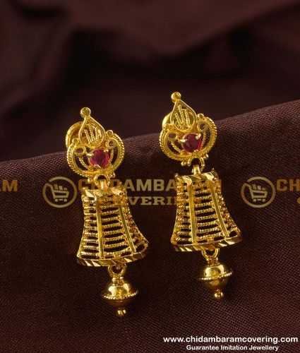 ERG186 - Amazing Designs Ruby Stone Jhumkas Earrings Gold Style Design Online