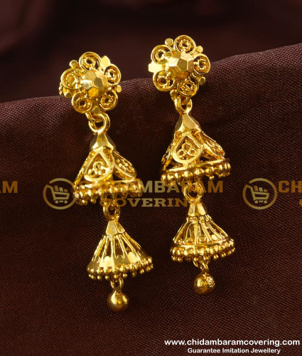 ERG188 - Gold Colour Two Layer Jhumkas Earrings Gold Style Design Online