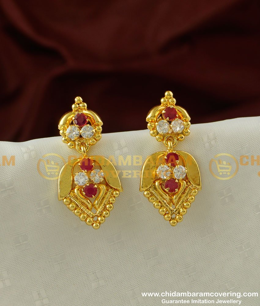 ERG194 - Gold Plated AD Stone Danglers Imitation Earrings Online