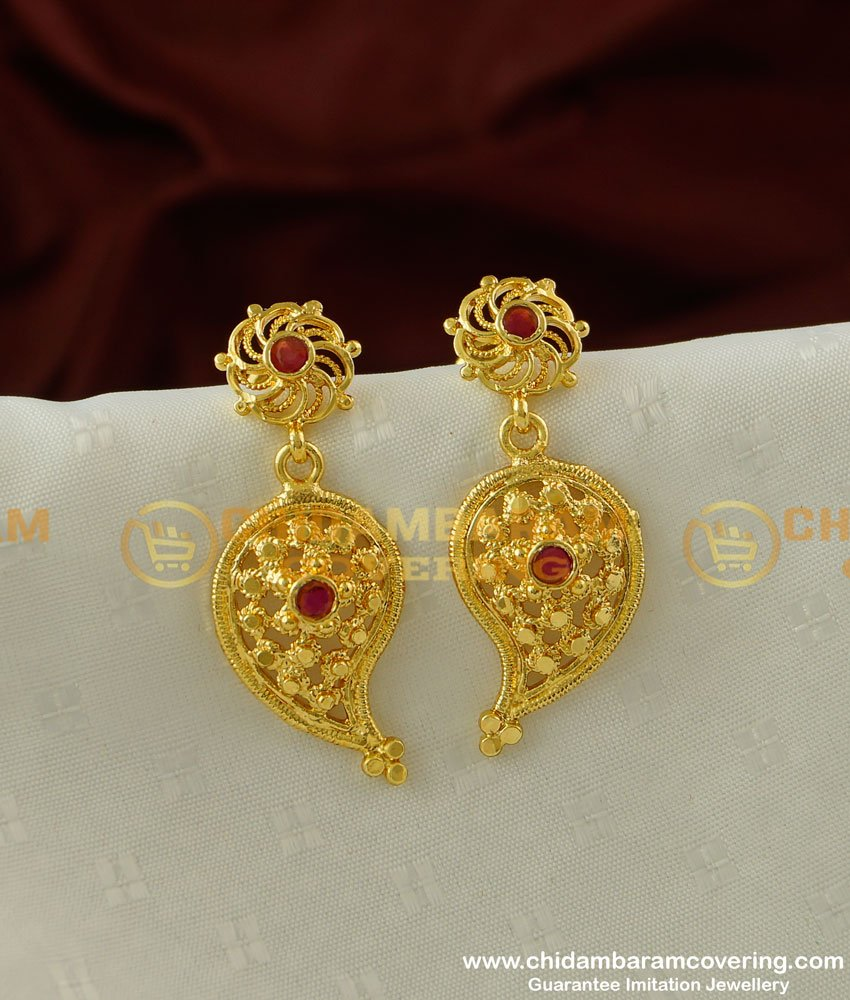 ERG196 - Unique Party Wear Big Mango Ruby Stone Hanging Earring for Female