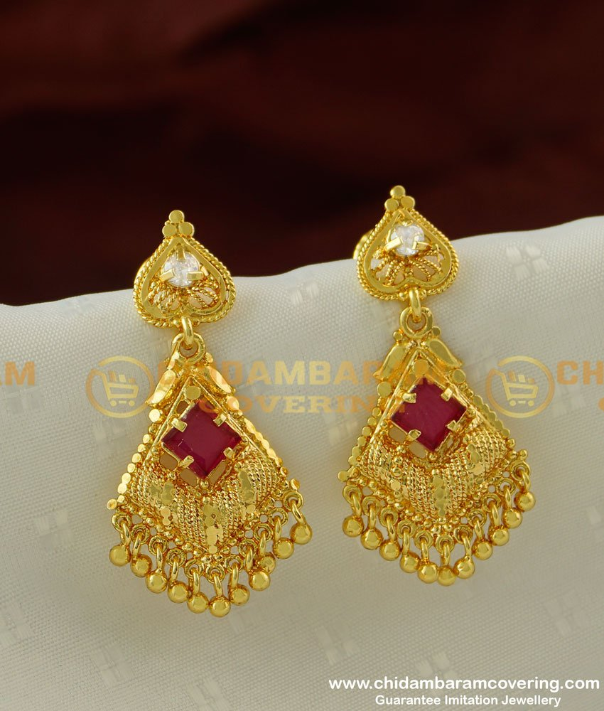 ERG199 - Stylish Earring Red and White Attractive Combination Stone Danglers