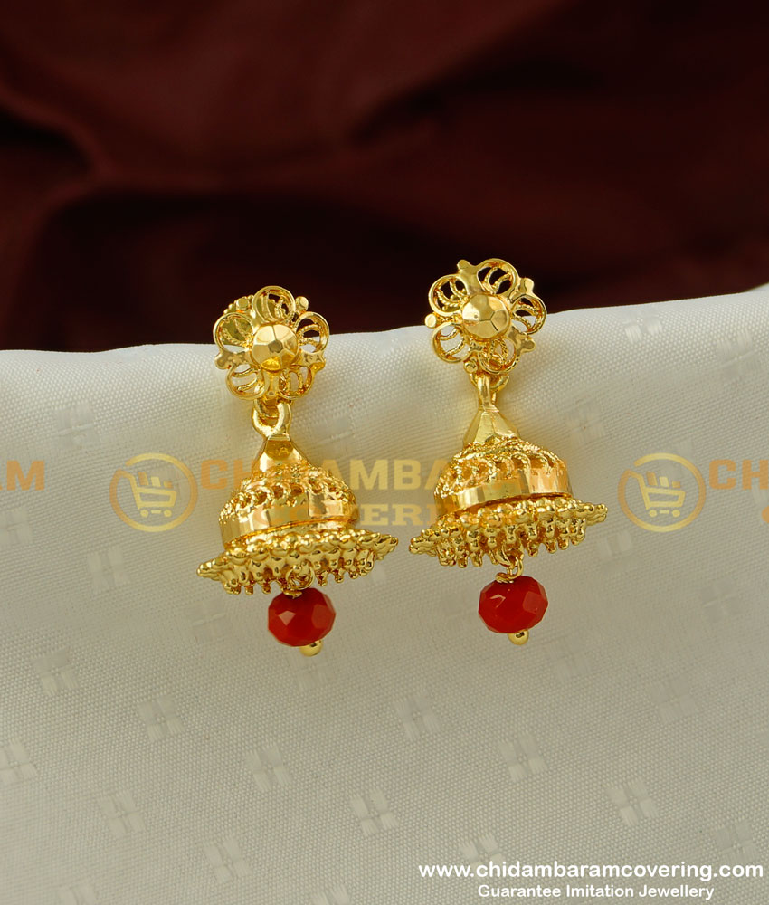 ERG200 - Semi Precious Red Coral Gold Design Jhumka Earrings for Women