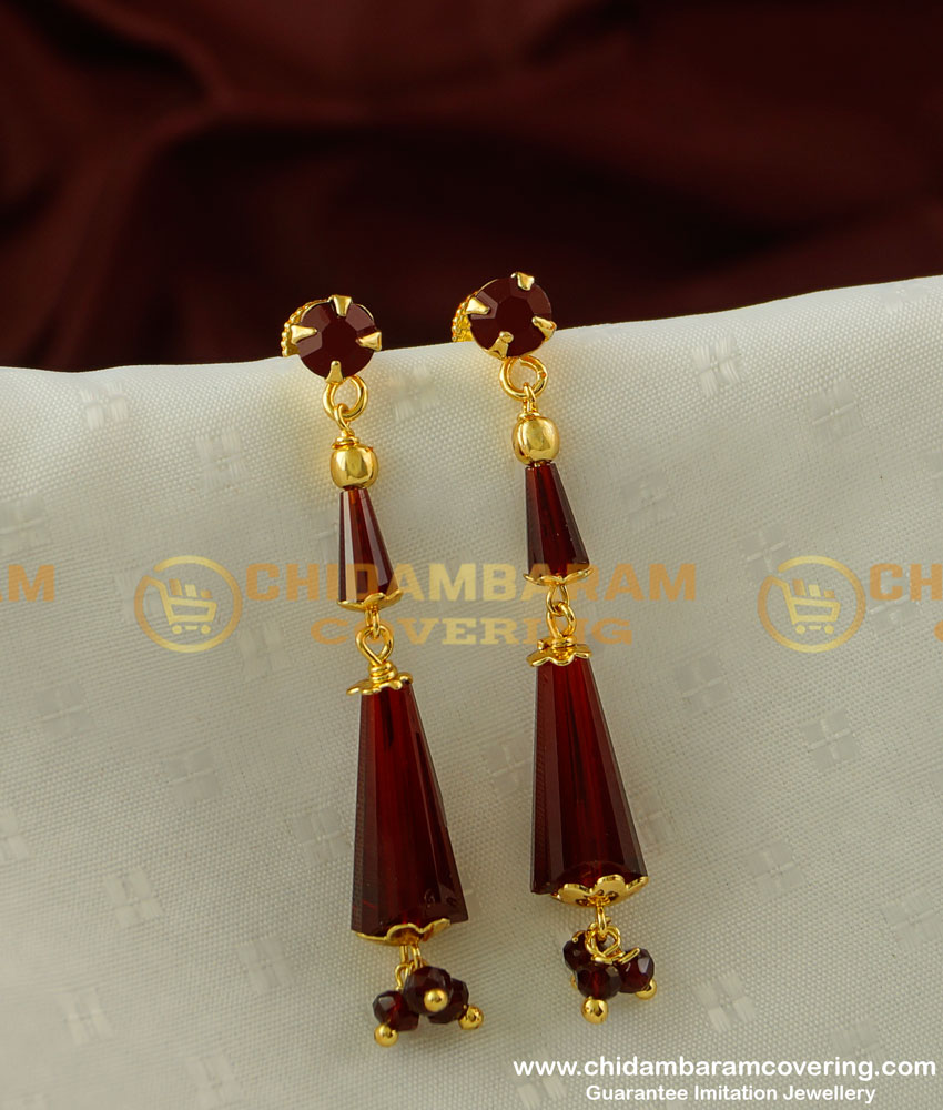 ERG202 - Party Wear Maroon Colour Crystal Earring Best Matching for Saree Salwar