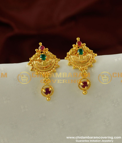 ERG204 - Elegant Finish Multi Stone Office Wear Earrings Design Buy Online