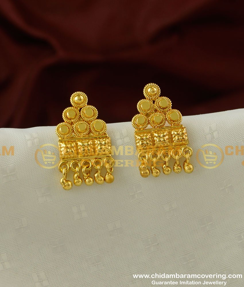 ERG205 - Gold Design Daily Wear Classical Stud One Gram Gold Plated Earring Online