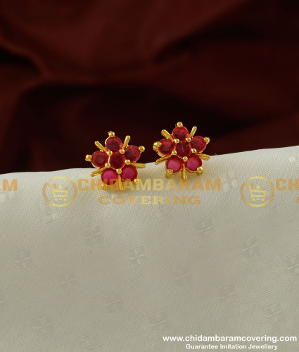 ERG207 - Stylish Women Full Ruby Stone Classical Design Studs for Women