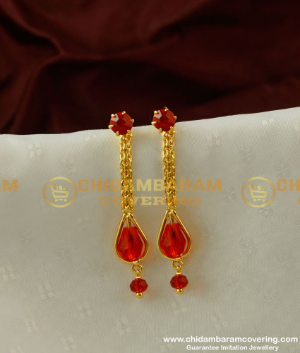 ERG214 - Latest Fashion Gold Plated Red Crystal Earring Design Online