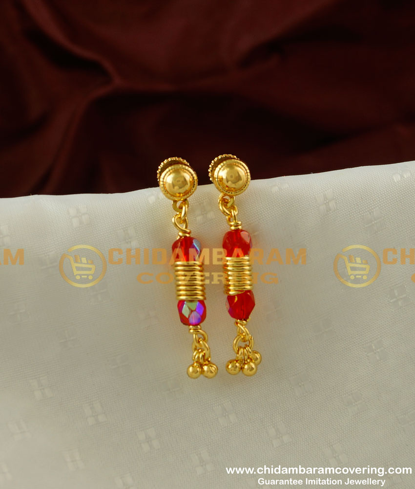 ERG215 - Most Beautiful Hanging Red Crystal Dangle Earrings Design for Teenage Girls