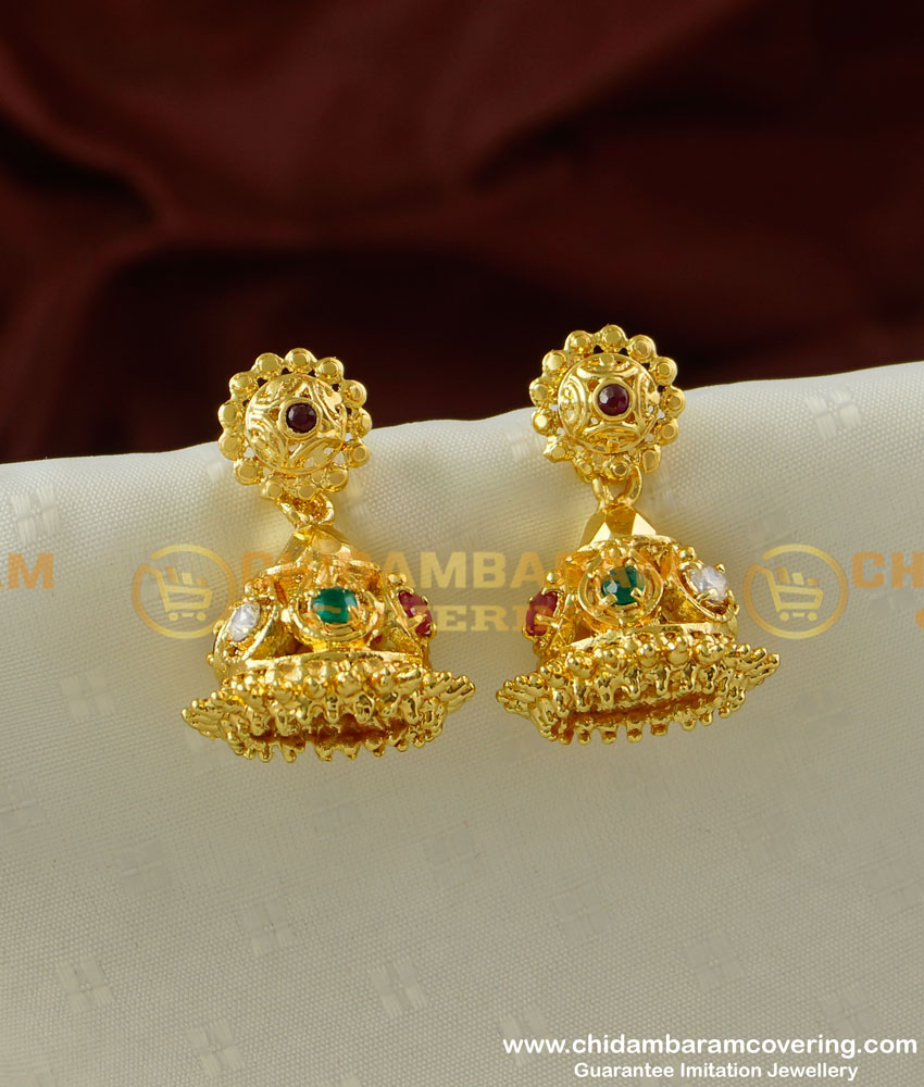 ERG220 - First Quality solid Stone Jhumka Earing One Gram Gold Jewellery
