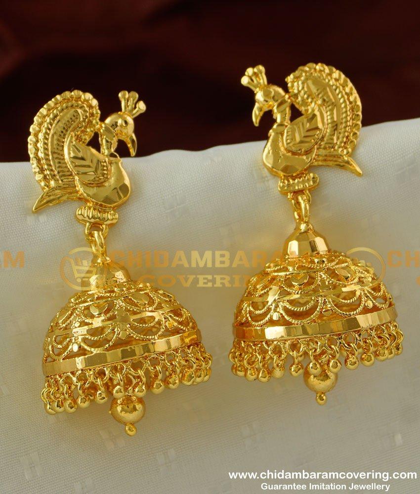 ERG222 - Bridal Wear Big Size Peacock Jhumkas Earring Design Indian Jewelry Online