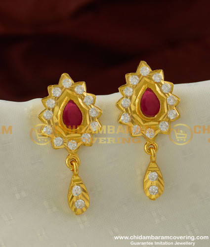 ERG226 - Beautiful Impon Flower Designs with Hanging Stone Drops Guarantee Earrings Online