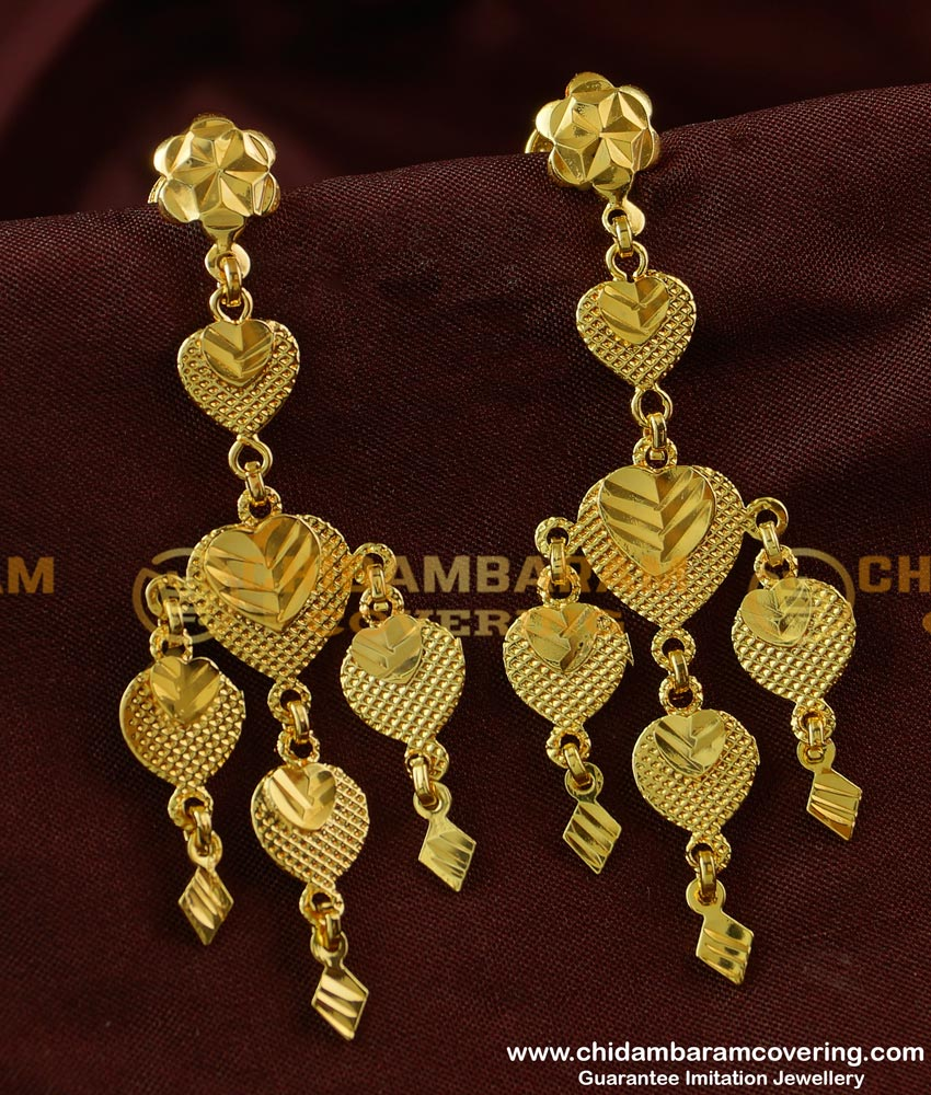 ERG229 - Gold Style Plain Big Hanging Earrings Gold Plated Earring