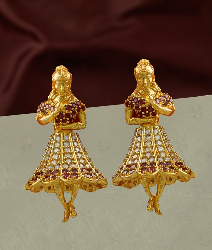 ERG234 - High Quality Ad Stone Dancing Doll Butta Bomma Earring Jhumkas Online
