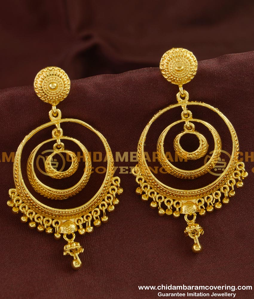 ERG244 - Gold Style Plain Big Round Layered Chandbali Earrings Gold Plated Earring Online