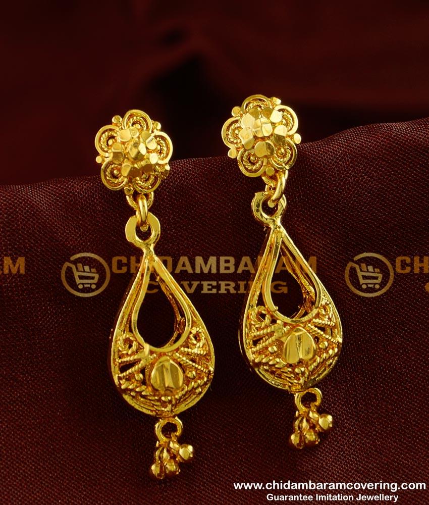 ERG253 - Stunning Gold Earring Design One Gram Guarantee Earrings Online