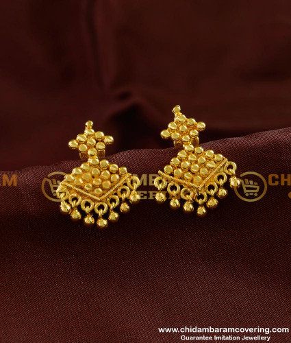 ERG264 - New Model Daily Wear Guarantee Gold Covering Earring Collection Online