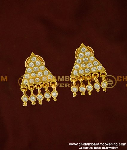ERG271 - Impon Full White Stone Triangle Shape Stud Designs with Hanging Stone Drops Gold Earrings Online
