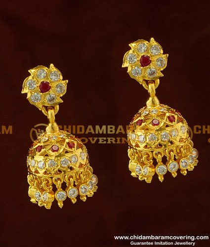 ERG278 - Impon Design Bridal Wear Real Gold Like First Quality Guarantee Stone Jhumkas Online