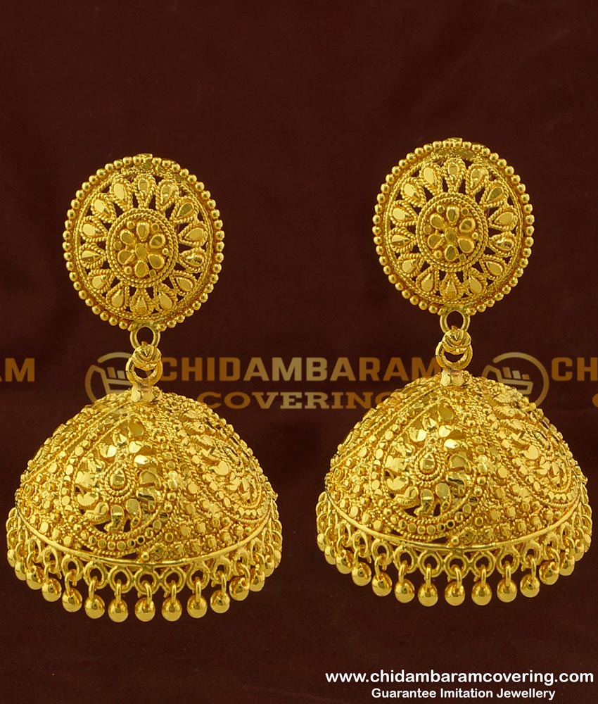 ERG281 - Traditional Kerala Bridal Heavy Jhumkas Exclusive Big Size Wedding Jhumka Collection Online