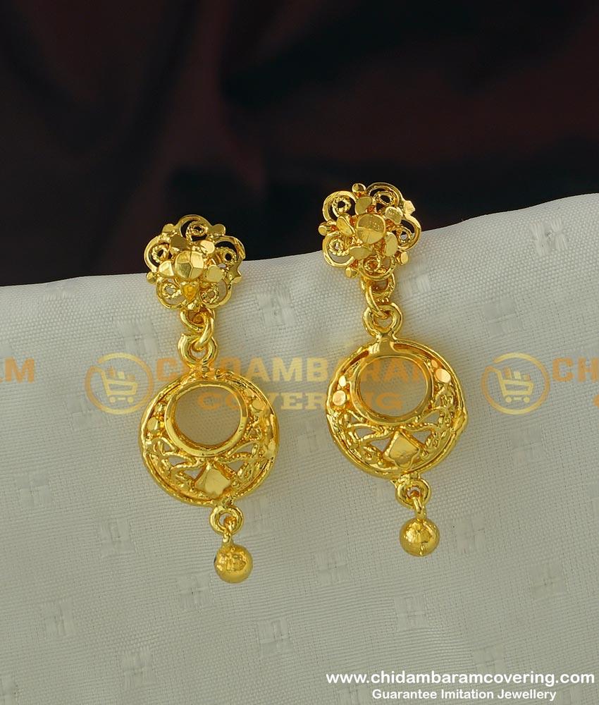ERG297 - Stunning Gold Earring Design One Gram Guarantee Earrings buy Online