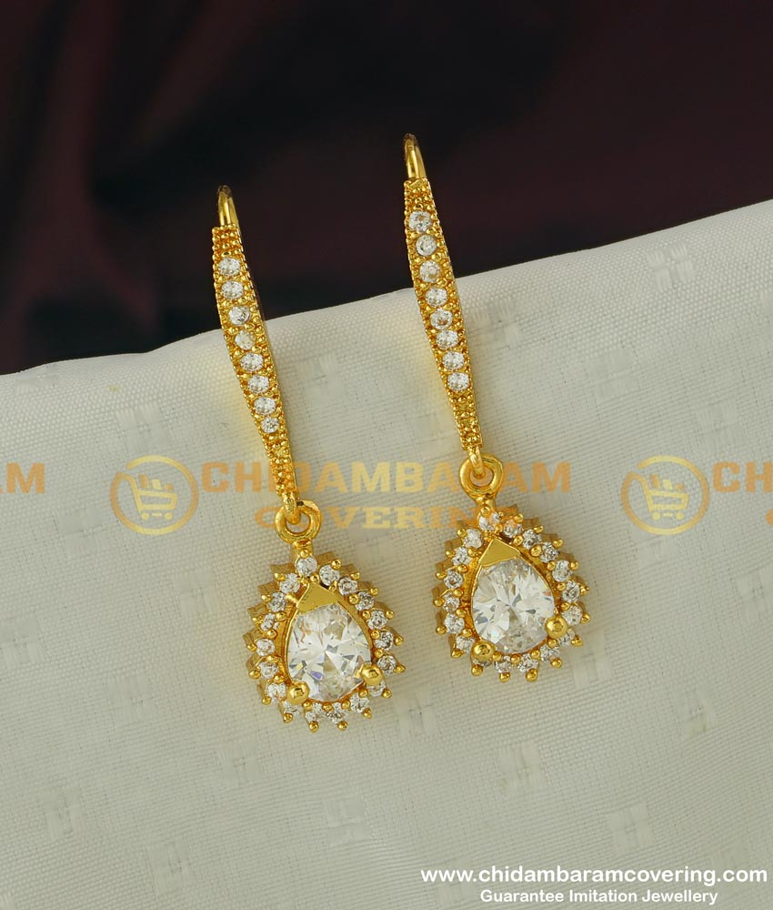 ERG304 - Unique American Diamond Designer Hook Earring Design Buy Online