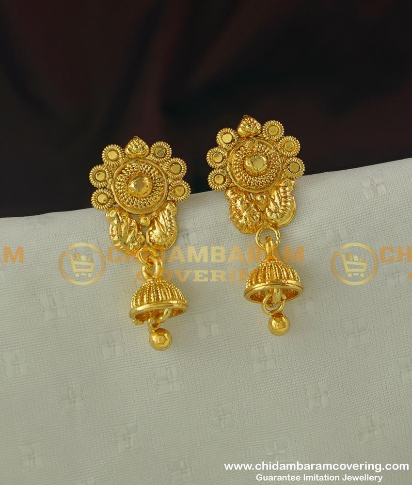 ERG315 - Beautiful Flower Design Gold Plated Jhumka Jewellery Designs Online Shopping