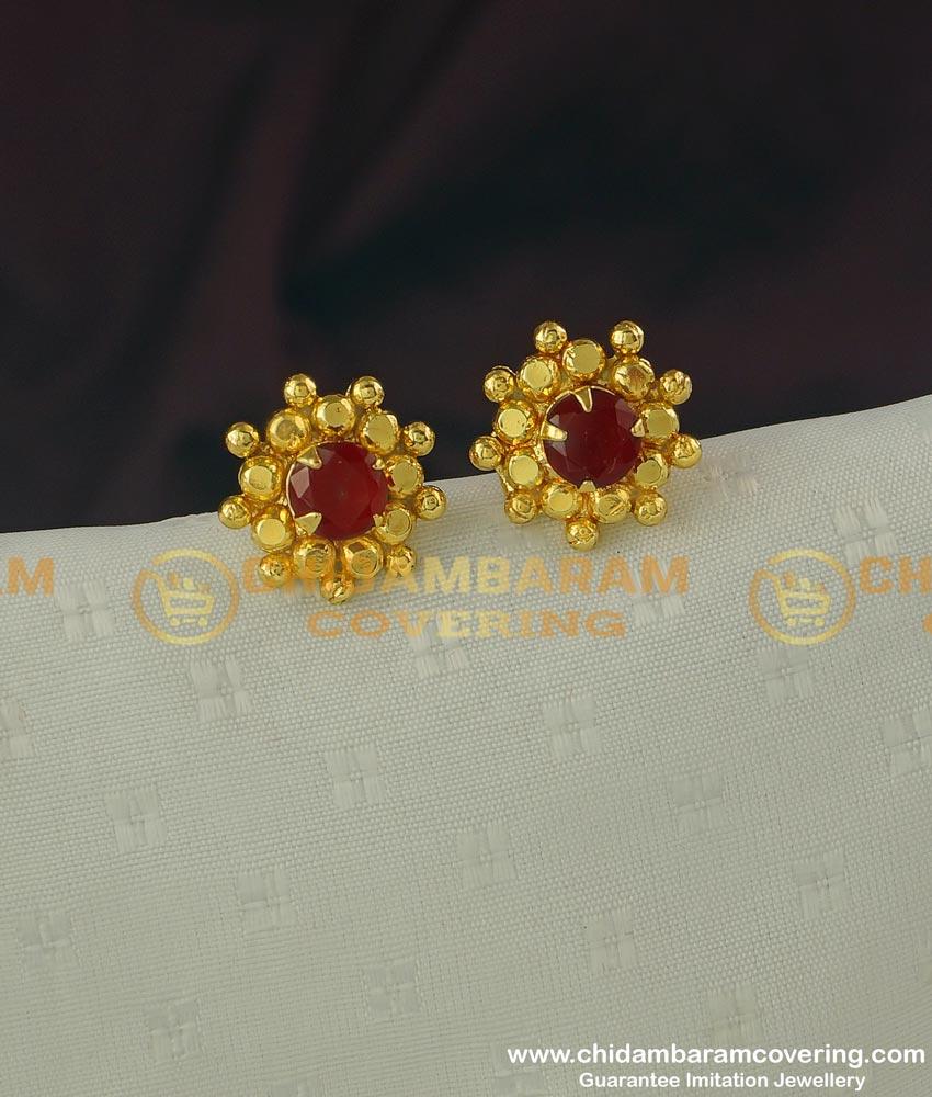 ERG317 - New Floral Design Big Single Ruby Stone One Gram Gold Stud Online